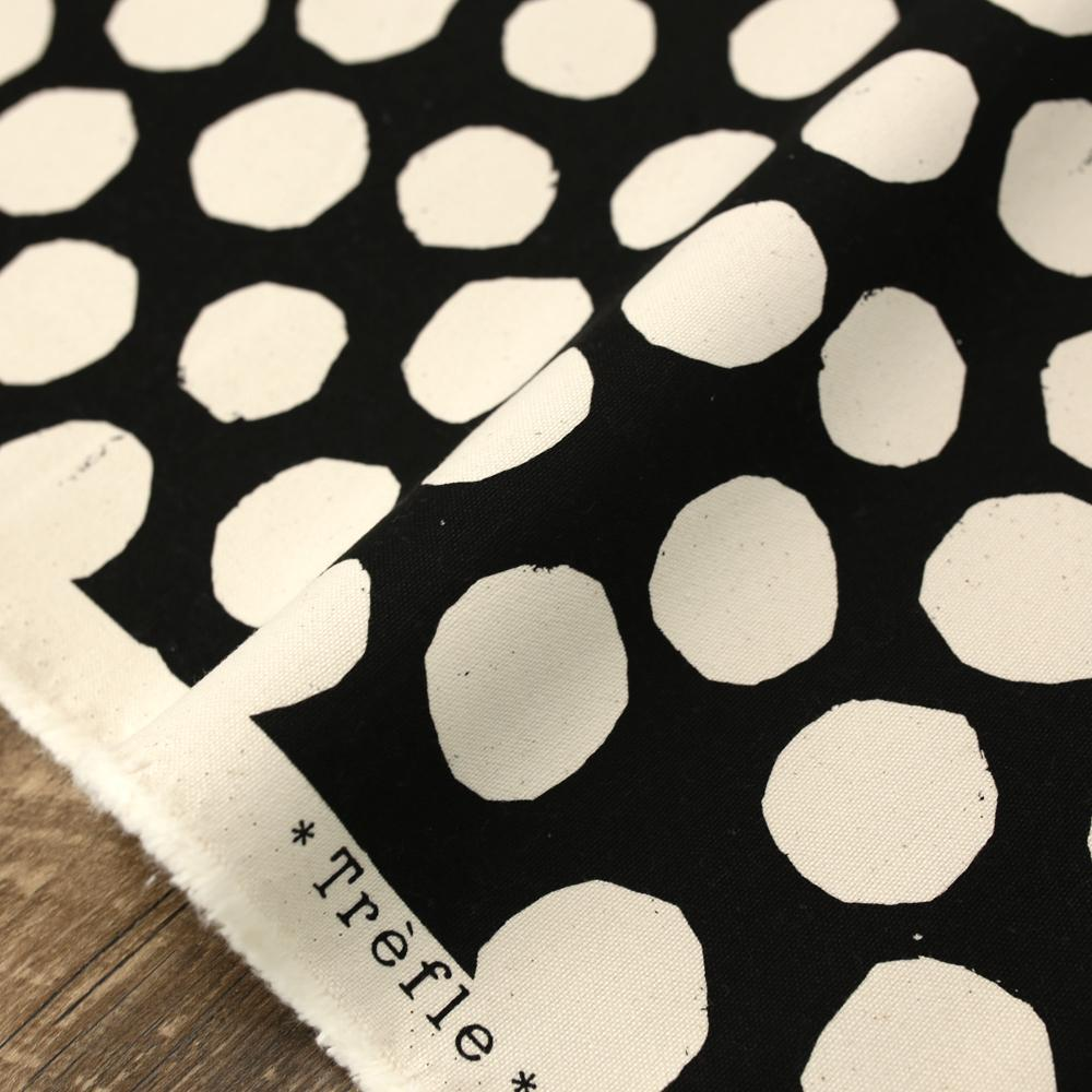 Kokka Nine Five Dots Sail Cloth - Cotton Canvas - Black - 50cm