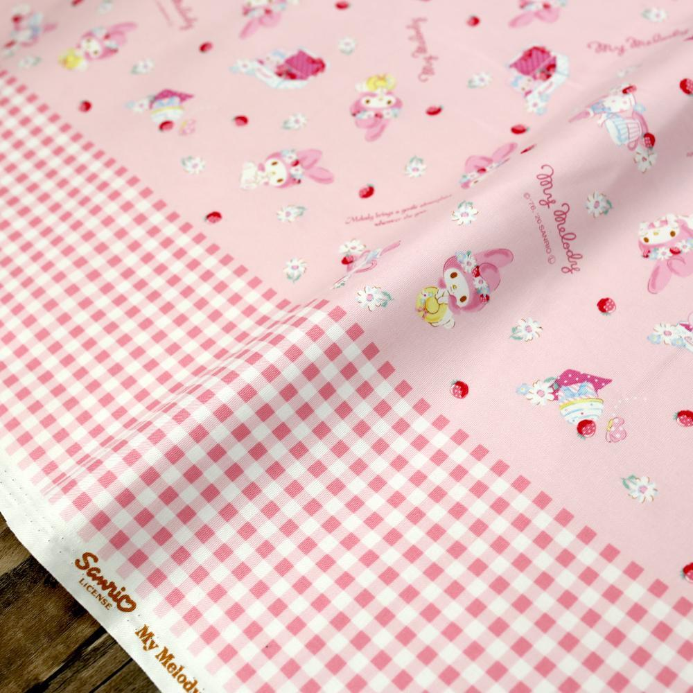 Sanrio Hello Kitty My Melody Border Print - Cotton Canvas Oxford  - Pink - Fat Quarter