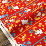 Sanrio Hello Kitty Crayon - Cotton Canvas Oxford - Red - 50cm