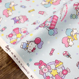 Sanrio Hello Kitty and Friends Collage - Cotton Canvas Oxford - Blue - Fat Quarter