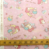 Sanrio Hello Kitty Twin Stars Unicorn Harp Glitter - Cotton Canvas Oxford - Pink - Fat Quarter