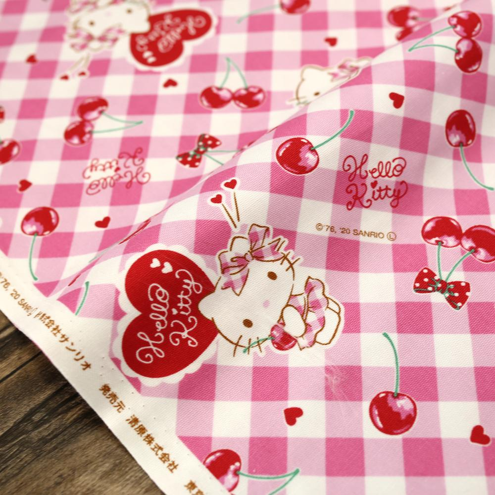 Sanrio Hello Kitty Plaid - Cotton Canvas Oxford - Pink - 50cm
