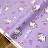 Sanrio Hello Kitty Latice - Cotton Canvas Oxford - Violet - Fat Quarter