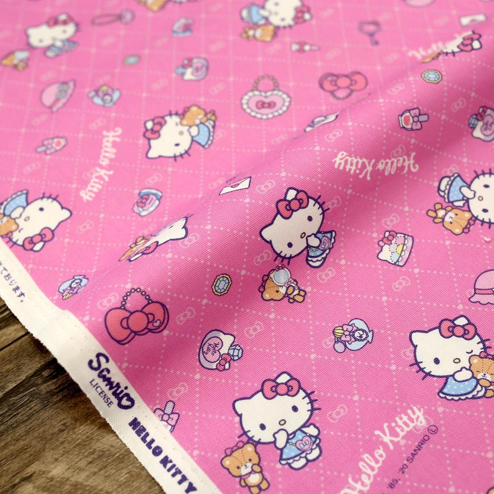 Sanrio Hello Kitty Latice - Cotton Canvas Oxford - Pink - 50cm