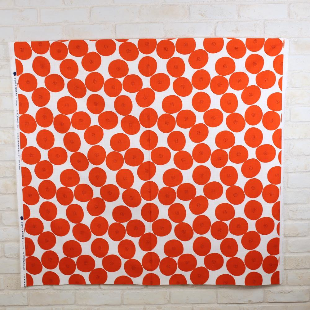 Kokka Muddy Works by Tomotake Anpan - Mortley Cross Soft Canvas - Beige Red - Fat Quarter