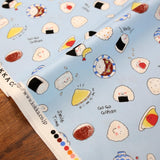 Kokka Smile Time Onigiri Sushi - Oxford Canvas - Blue - 50cm