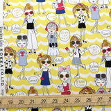 Kokka Kira Kira Girls - Oxford Canvas - Yellow - 50cm