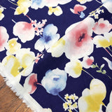 Kokka Natural Garden Floral - Cotton Sheeting - Navy - 50cm