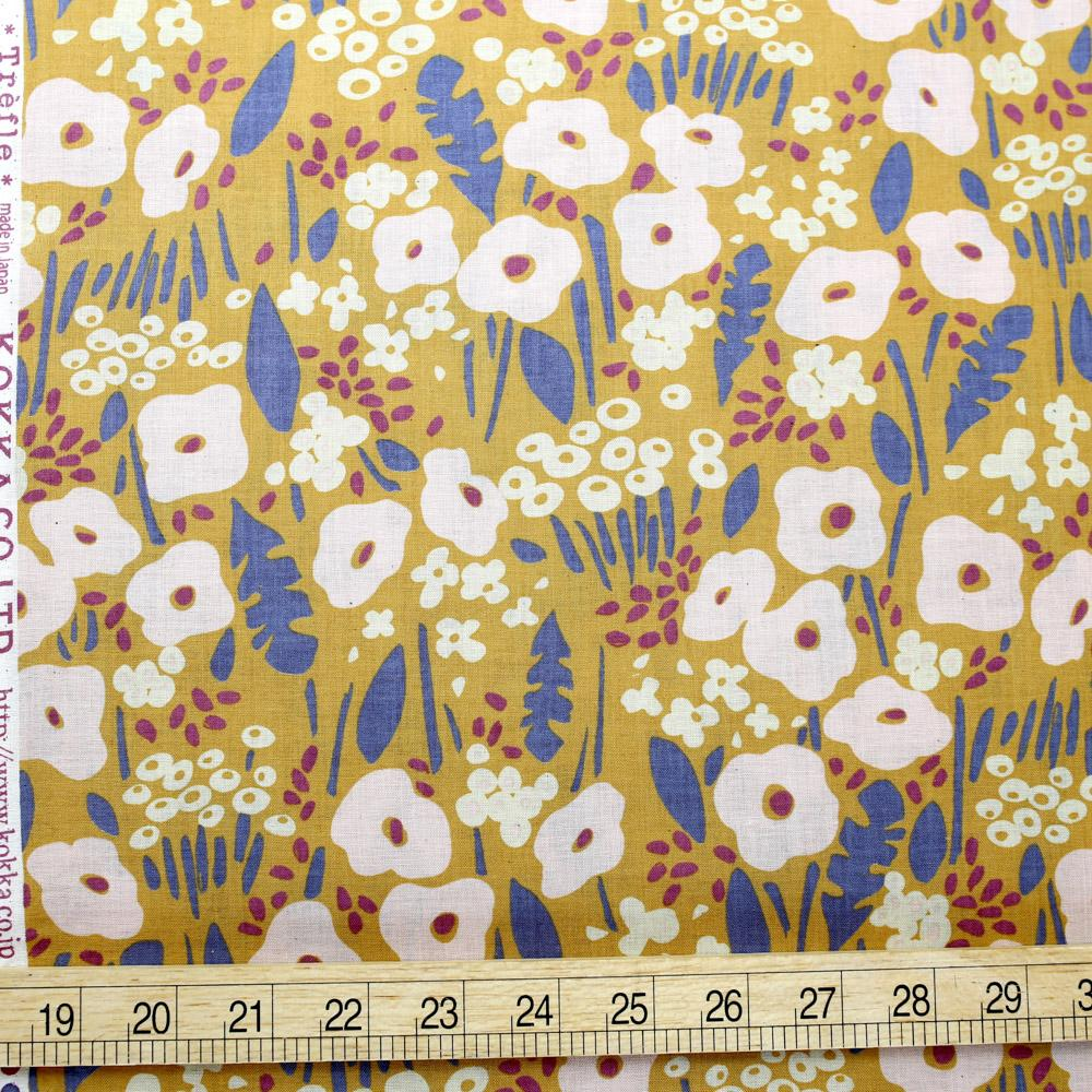 Kokka Floral - Cotton Compass Lawn - Mustard - 50cm