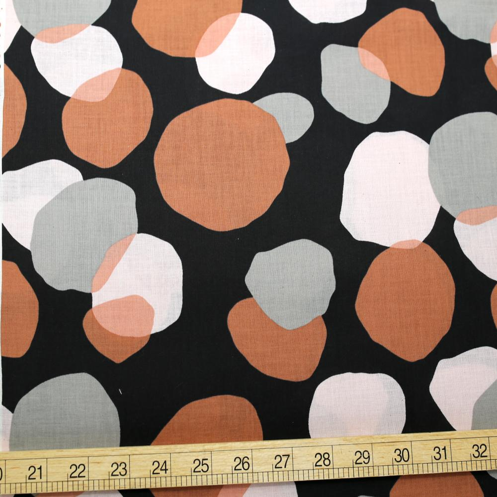 Kokka Abstract Dots - Cotton Compass Lawn - Black - 50cm