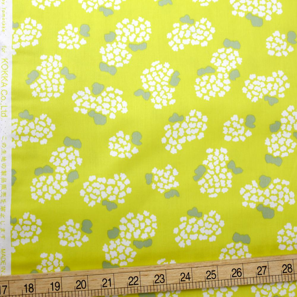 Kokka Muddy Works by Tomotake Floral - Cotton Sateen - Lime - 50cm