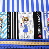 Kokka Kira Kira Girls Panel Border Print - Oxford Canvas - Navy - 50cm