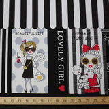 Kokka Kira Kira Girls Panel Border Print - Oxford Canvas - Black Beige - 50cm
