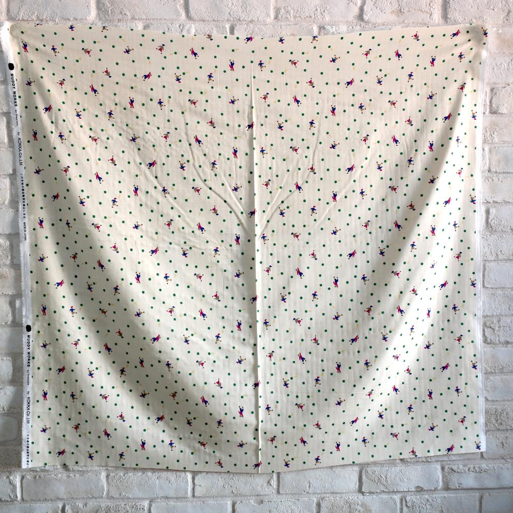 Kokka Muddy Works by Tomotake Dots - Double Gauze - Beige Red - 50cm