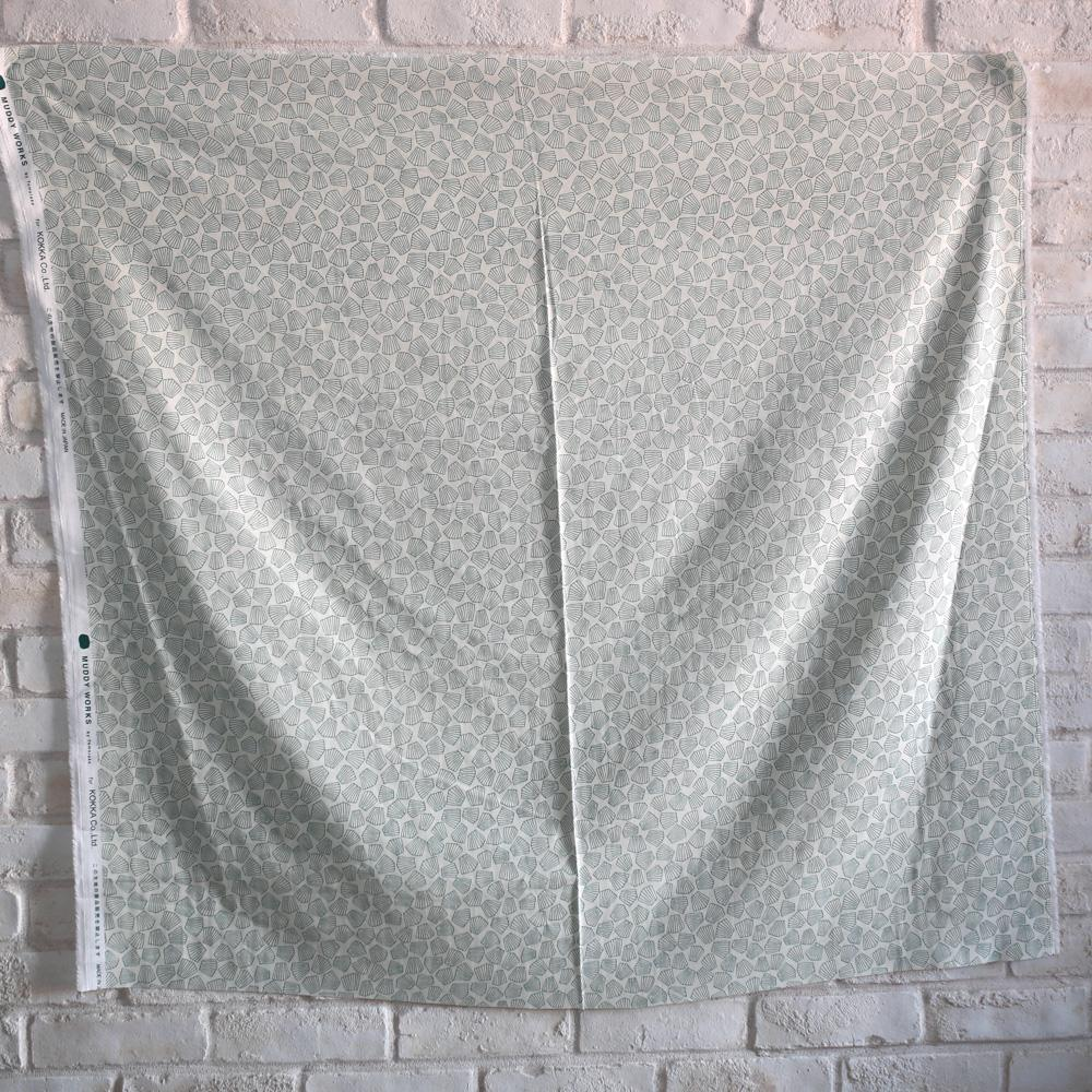 Kokka Muddy Works by Tomotake Shell - Double Gauze - Green - 50cm