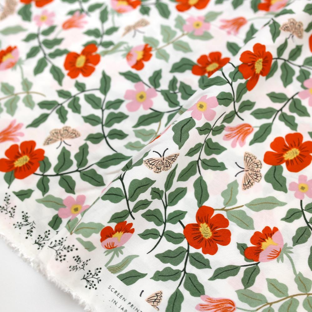 Cotton + Steel Rifle Paper Co Strawberry Fields Primrose Rayon - Ivory - Half Yard
