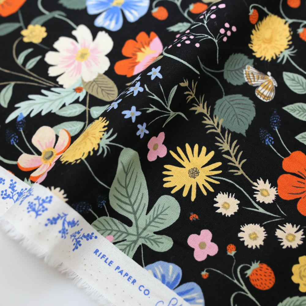 Cotton + Steel Rifle Paper Co Strawberry Fields Cotton Linen Canvas - Black - Half Yard