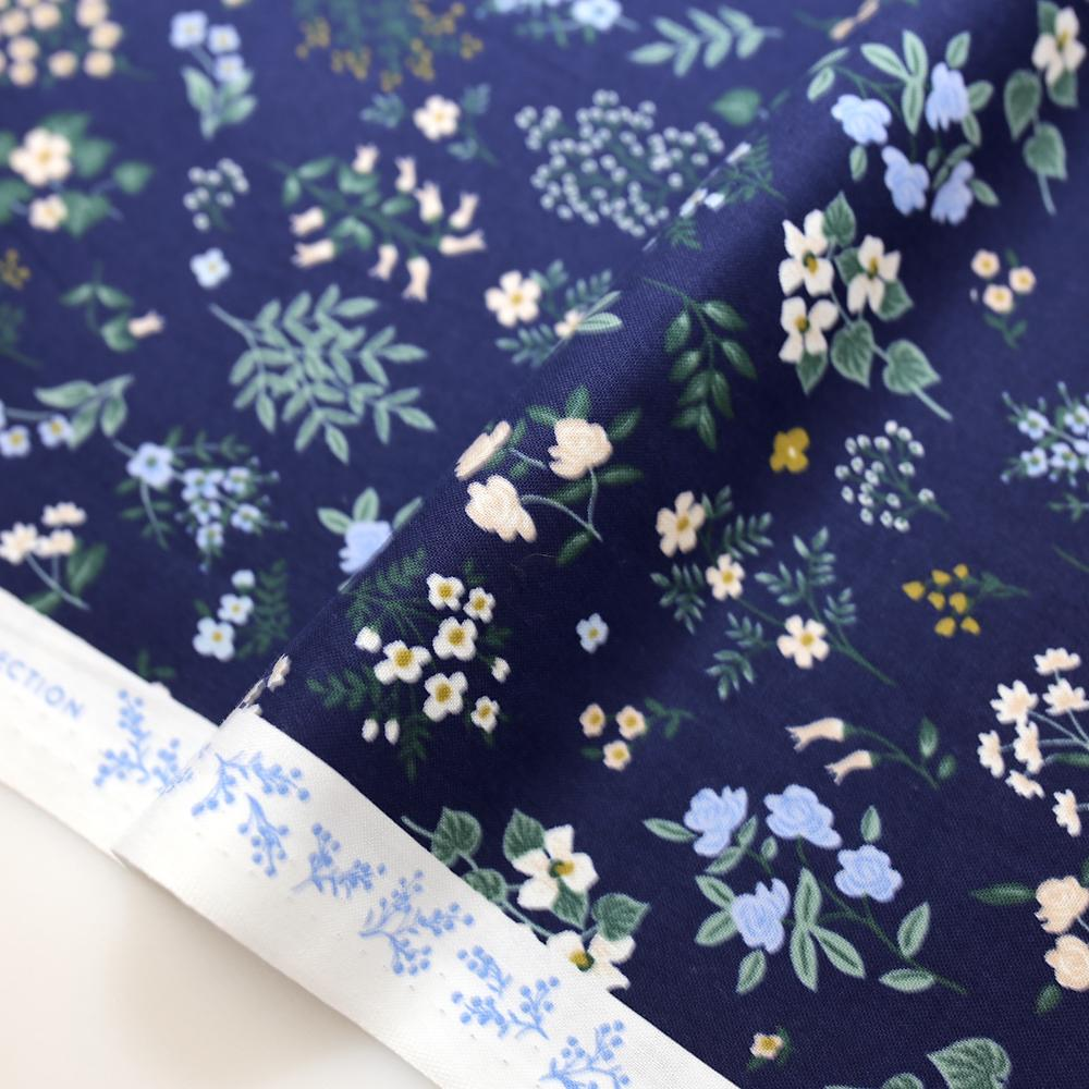 Cotton + Steel Rifle Paper Co Strawberry Fields Cotton Hawthorne Cotton - Navy - Half Yard