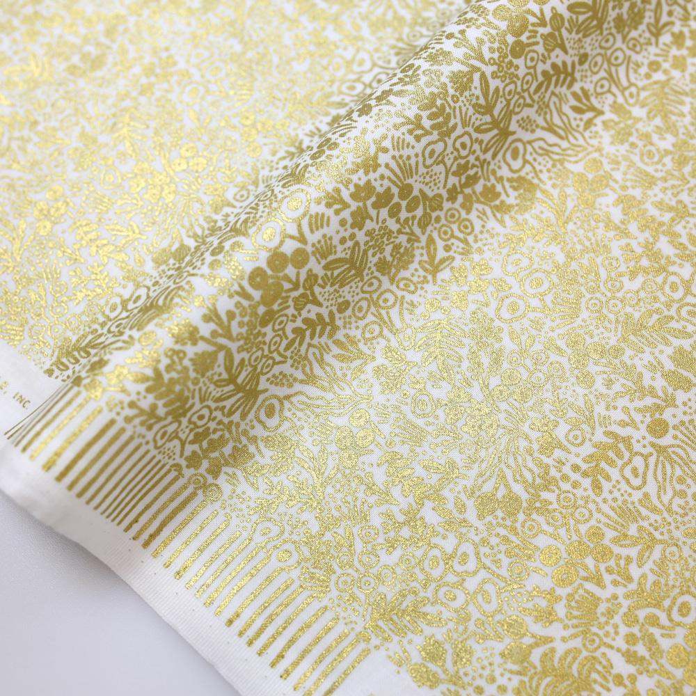 Cotton + Steel Rifle Paper Co Basics Tapestry Lace Cotton - Gold Metallic - Half Yard