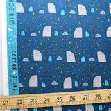 Cotton + Steel Summer Skies Hedgehog Hills Cotton - Aqua - Half Yard