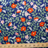 Cotton + Steel Rifle Paper Co Strawberry Fields Primrose Rayon - Navy - Half Yard