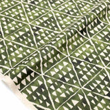 Kokka Painted Triangles Rayon Linen - Green - 50cm