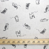 Hishiei Cats Cotton Linen Canvas  - Beige - 50cm
