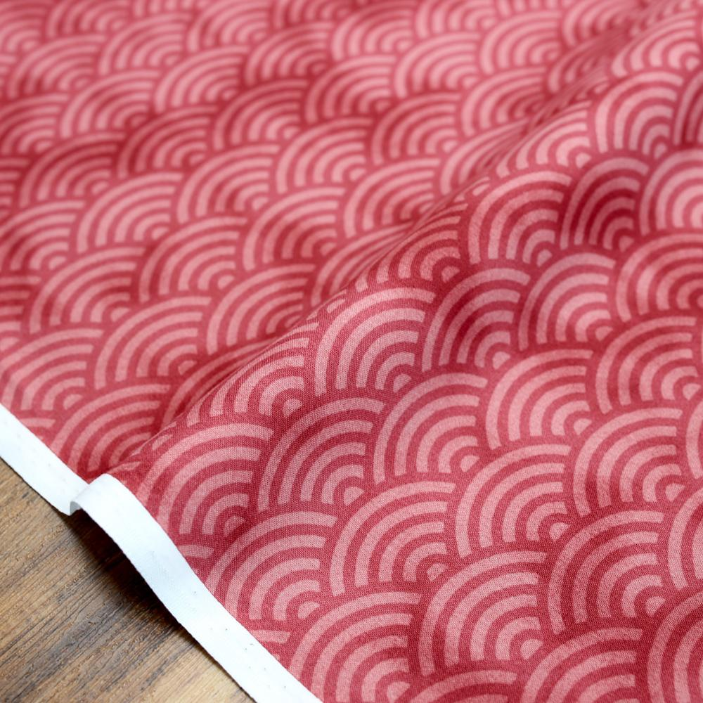 Hishiei Rustic Seigaiha Waves Cotton Sheeting - Red - 50cm