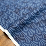 Hishiei Rustic Seigaiha Waves Cotton Sheeting - Navy - 50cm