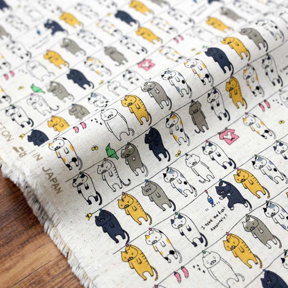 Kobayashi Cats Clothesline Cotton Canvas - Beige - Fat Quarter