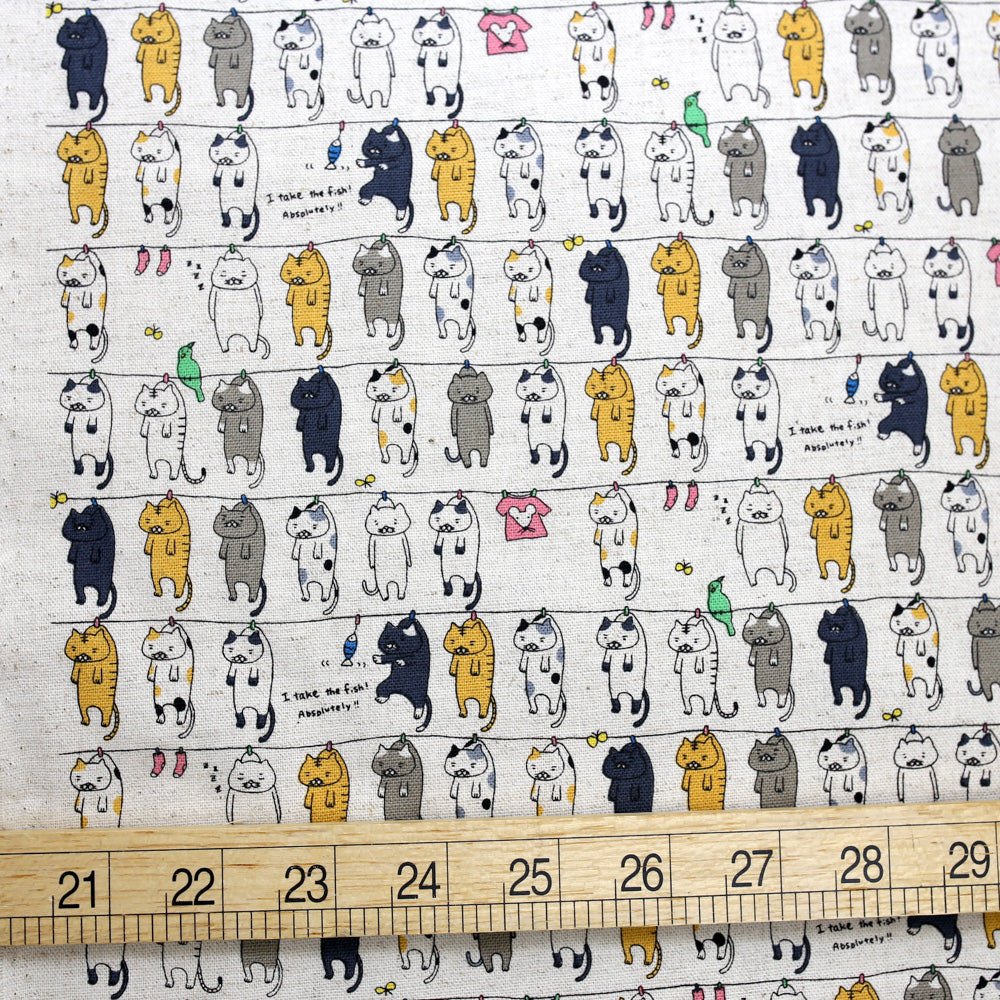 Kobayashi Cats Clothesline Cotton Canvas - Beige - 50cm