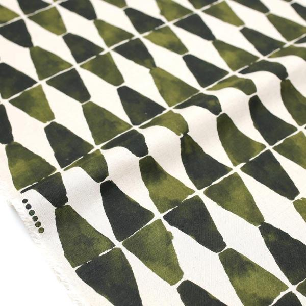 Kokka Painted Diamonds Rayon Linen - Green - 50cm - Nekoneko Fabric