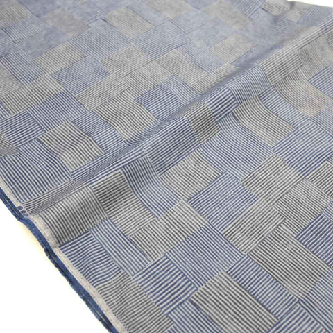 Kokka Textile Orisome Squares Light Sheeting - Dark Blue - 50cm