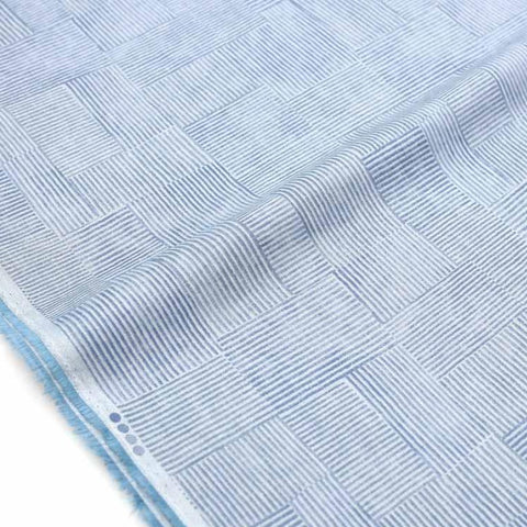Kokka Textile Orisome Squares Light Sheeting - Light Blue - 50cm