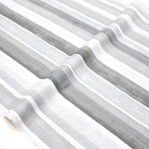 (Chope) Kokka Textile Watercolour Stripes Double Gauze - Grey - 50cm - Nekoneko Fabric