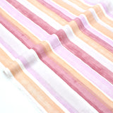 (Chope) Kokka Textile Watercolour Stripes Double Gauze - Pink - 50cm - Nekoneko Fabric