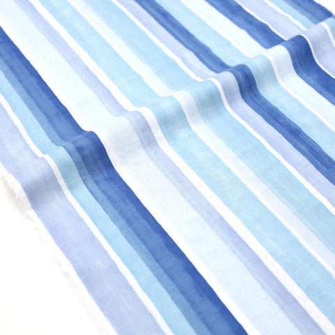 (Chope) Kokka Textile Watercolour Stripes Double Gauze - Blue - 50cm - Nekoneko Fabric