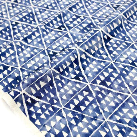 Kokka Painted Triangles Rayon Linen - Blue - 50cm