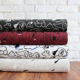 Cosmo Dogs Collage - Cotton Linen Canvas - Charcoal - Fat Quarter