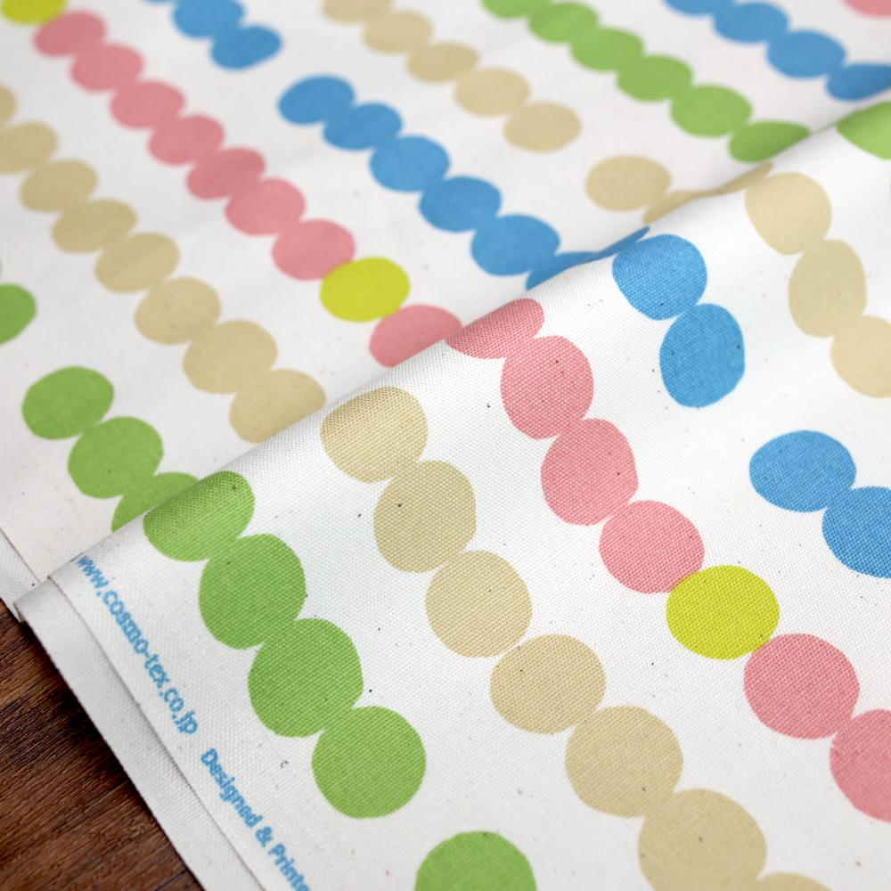 Cosmo String of Circles - Cotton Oxford Canvas - Beige Pastel - 50cm