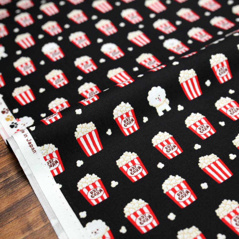 Cosmo Bichon Popcorn - Cotton Sheeting - Black - 50cm