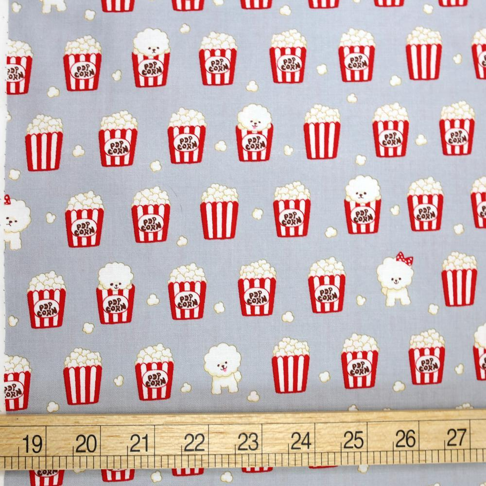Cosmo Bichon Popcorn - Cotton Sheeting - Grey - 50cm