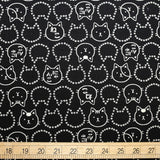 Cosmo Neko Cat Faces - Cotton Dobby Barkcloth - Black - 50cm