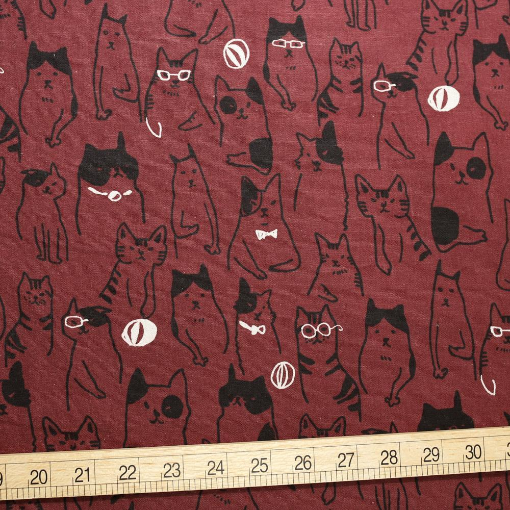 Cosmo Cats Collage - Cotton Linen Canvas - Dark Maroon - Fat Quarter