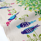 Kokka Echino Bird Song Canvas - Green Yellow - 50cm