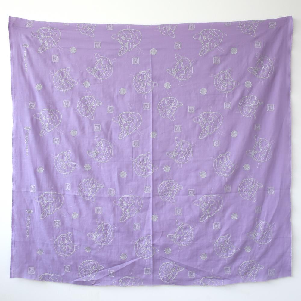 Kokka +Hayu Cats Embroidered Double Gauze - Violet - 50cm