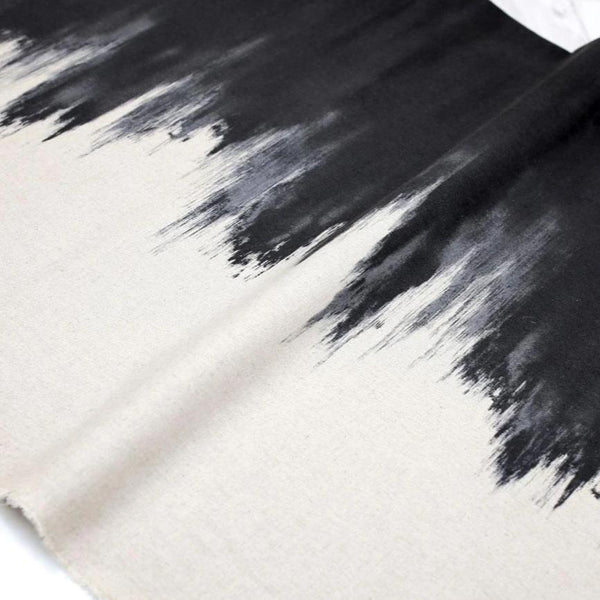 Kokka Textile Paintbrush Cotton Linen Canvas - Black - 50cm - Nekoneko Fabric