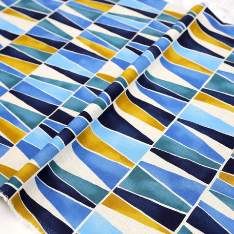 Kokka Textile Rayon Linen Painted Triangles - Blue - 50cm