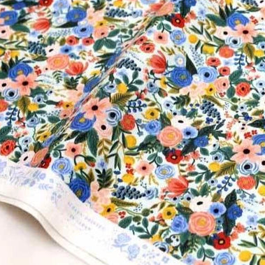(chope) Cotton + Steel Rifle Paper Co Wildwood Petite Garden Party - Cotton - Blue - Half Yard - Nekoneko Fabric