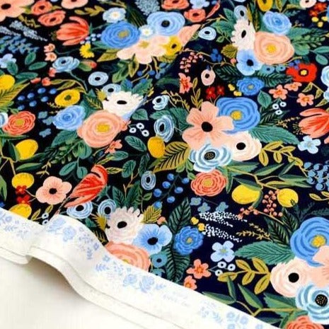 (chope) Cotton + Steel Rifle Paper Co Wildwood Garden Party - Cotton - Navy - Half Yard - Nekoneko Fabric